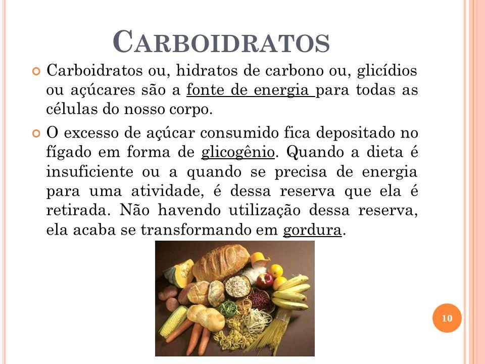 Carboidratos Carboidratos ou, hidratos de carbono ou, glicídios ou açúcares são a fonte de energia para todas as células do nosso corpo.