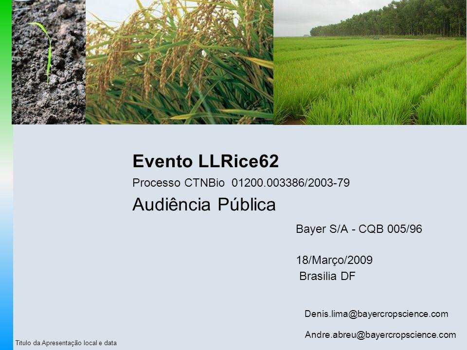 Evento LLRice62 Processo CTNBio 01200.003386/2003-79 Audiência Pública