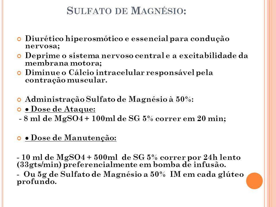 Sulfato de Magnésio: Diurético hiperosmótico e essencial para condução nervosa;