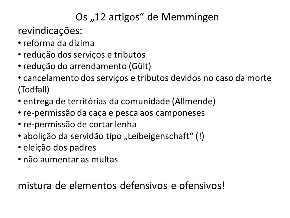"Os ""12 artigos de Memmingen"