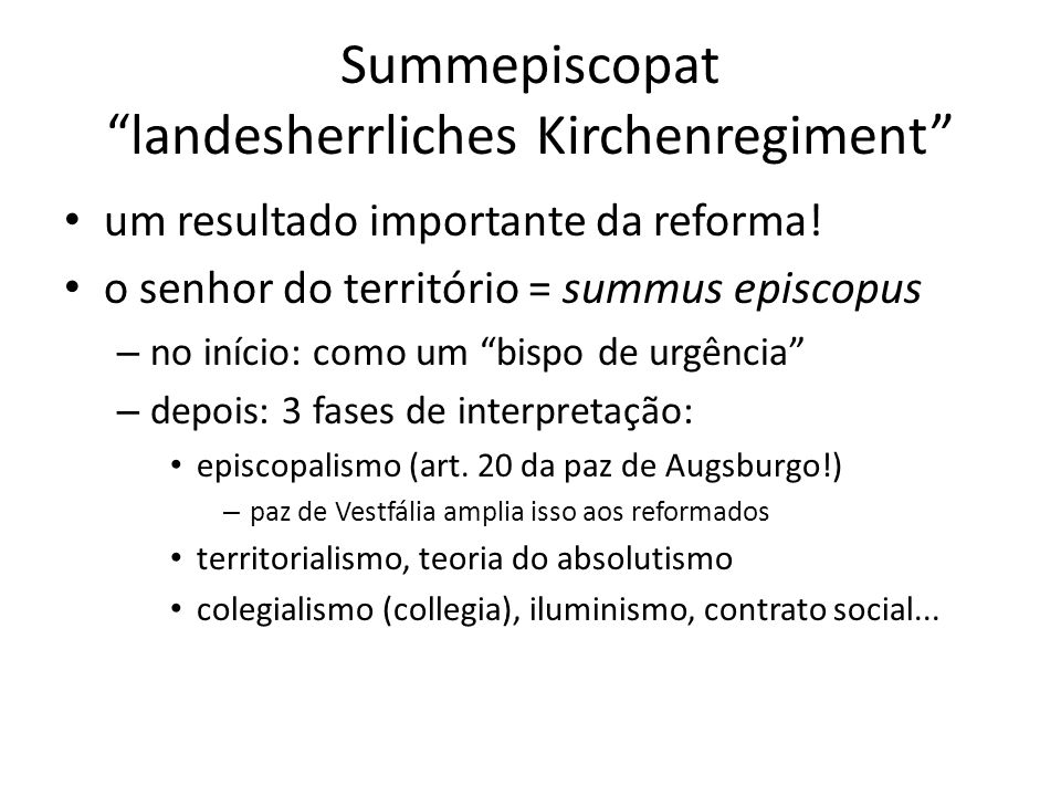Summepiscopat landesherrliches Kirchenregiment