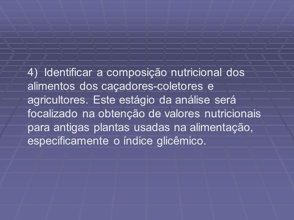 4) Identificar a composição nutricional dos alimentos dos caçadores-coletores e agricultores.