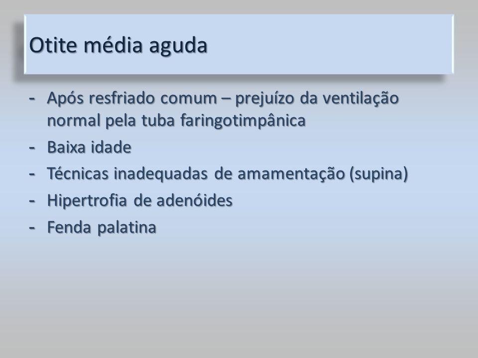 Otite média aguda Após resfriado comum – prejuízo da ventilação normal pela tuba faringotimpânica. Baixa idade.