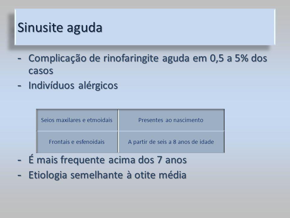 Sinusite aguda Complicação de rinofaringite aguda em 0,5 a 5% dos casos. Indivíduos alérgicos. É mais frequente acima dos 7 anos.
