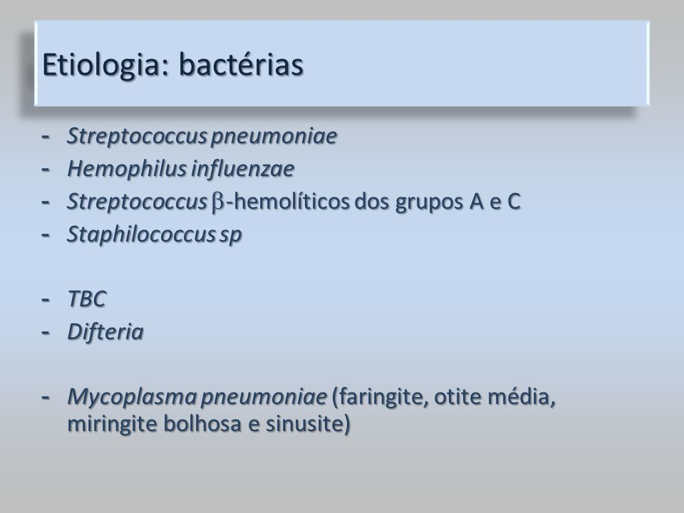 Etiologia: bactérias Streptococcus pneumoniae Hemophilus influenzae