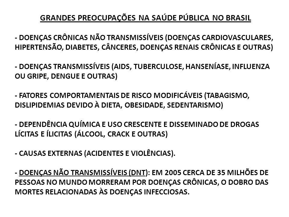 GRANDES PREOCUPAÇÕES NA SAÚDE PÚBLICA NO BRASIL - DOENÇAS CRÔNICAS NÃO TRANSMISSÍVEIS (DOENÇAS CARDIOVASCULARES, HIPERTENSÃO, DIABETES, CÂNCERES, DOENÇAS RENAIS CRÔNICAS E OUTRAS) - DOENÇAS TRANSMISSÍVEIS (AIDS, TUBERCULOSE, HANSENÍASE, INFLUENZA OU GRIPE, DENGUE E OUTRAS) - FATORES COMPORTAMENTAIS DE RISCO MODIFICÁVEIS (TABAGISMO, DISLIPIDEMIAS DEVIDO À DIETA, OBESIDADE, SEDENTARISMO) - DEPENDÊNCIA QUÍMICA E USO CRESCENTE E DISSEMINADO DE DROGAS LÍCITAS E ÍLICITAS (ÁLCOOL, CRACK E OUTRAS) - CAUSAS EXTERNAS (ACIDENTES E VIOLÊNCIAS).