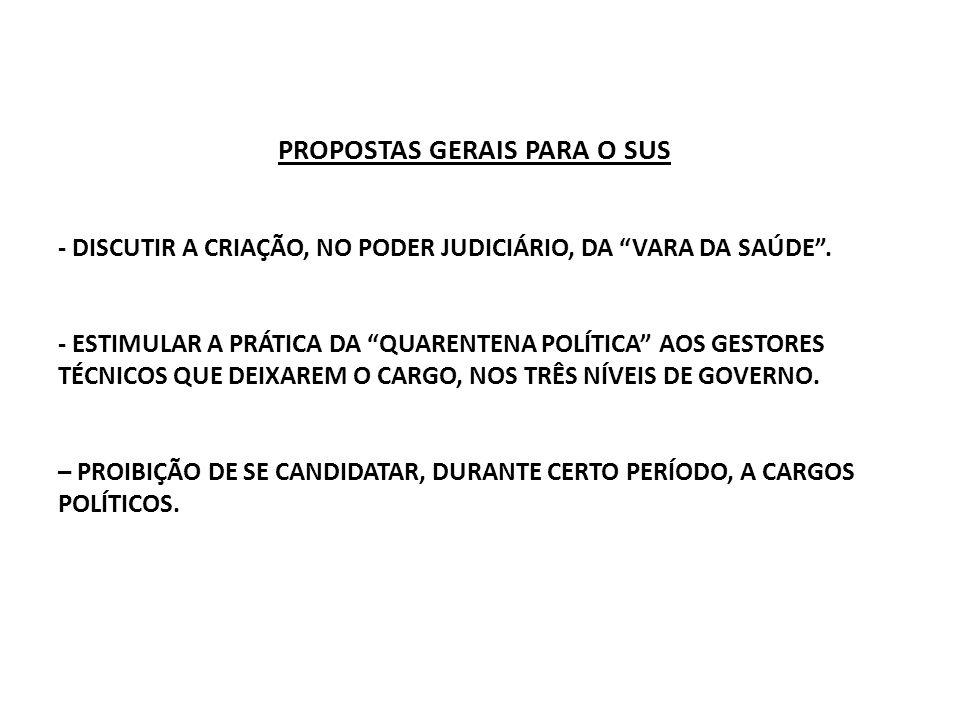 PROPOSTAS GERAIS PARA O SUS - DISCUTIR A CRIAÇÃO, NO PODER JUDICIÁRIO, DA VARA DA SAÚDE .