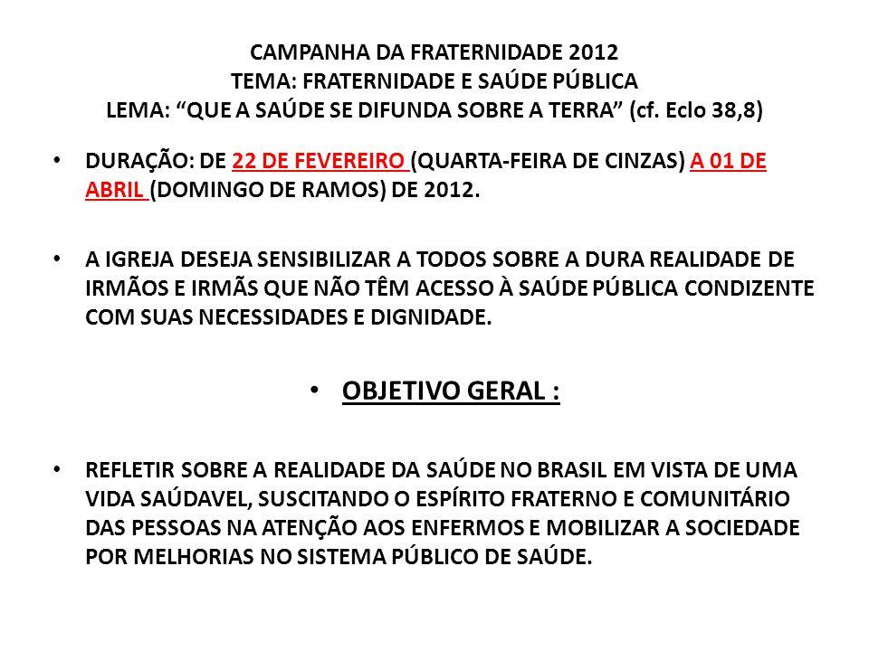 CAMPANHA DA FRATERNIDADE 2012 TEMA: FRATERNIDADE E SAÚDE PÚBLICA LEMA: QUE A SAÚDE SE DIFUNDA SOBRE A TERRA (cf. Eclo 38,8)