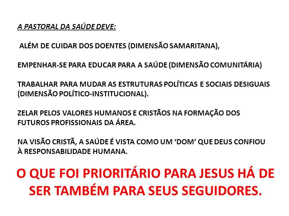 A PASTORAL DA SAÚDE DEVE: ALÉM DE CUIDAR DOS DOENTES (DIMENSÃO SAMARITANA), EMPENHAR-SE PARA EDUCAR PARA A SAÚDE (DIMENSÃO COMUNITÁRIA) TRABALHAR PARA MUDAR AS ESTRUTURAS POLÍTICAS E SOCIAIS DESIGUAIS (DIMENSÃO POLÍTICO-INSTITUCIONAL). ZELAR PELOS VALORES HUMANOS E CRISTÃOS NA FORMAÇÃO DOS FUTUROS PROFISSIONAIS DA ÁREA. NA VISÃO CRISTÃ, A SAÚDE É VISTA COMO UM 'DOM' QUE DEUS CONFIOU À RESPONSABILIDADE HUMANA.