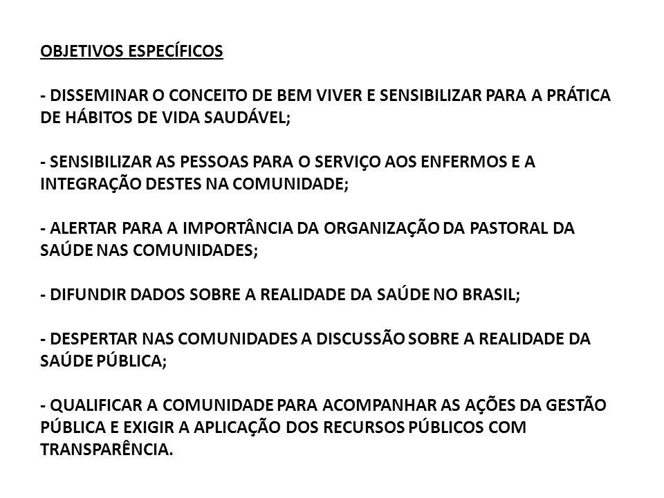 OBJETIVOS ESPECÍFICOS - DISSEMINAR O CONCEITO DE BEM VIVER E SENSIBILIZAR PARA A PRÁTICA DE HÁBITOS DE VIDA SAUDÁVEL; - SENSIBILIZAR AS PESSOAS PARA O SERVIÇO AOS ENFERMOS E A INTEGRAÇÃO DESTES NA COMUNIDADE; - ALERTAR PARA A IMPORTÂNCIA DA ORGANIZAÇÃO DA PASTORAL DA SAÚDE NAS COMUNIDADES; - DIFUNDIR DADOS SOBRE A REALIDADE DA SAÚDE NO BRASIL; - DESPERTAR NAS COMUNIDADES A DISCUSSÃO SOBRE A REALIDADE DA SAÚDE PÚBLICA; - QUALIFICAR A COMUNIDADE PARA ACOMPANHAR AS AÇÕES DA GESTÃO PÚBLICA E EXIGIR A APLICAÇÃO DOS RECURSOS PÚBLICOS COM TRANSPARÊNCIA.