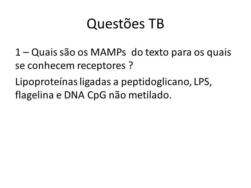 Questões TB 1 – Quais são os MAMPs do texto para os quais se conhecem receptores