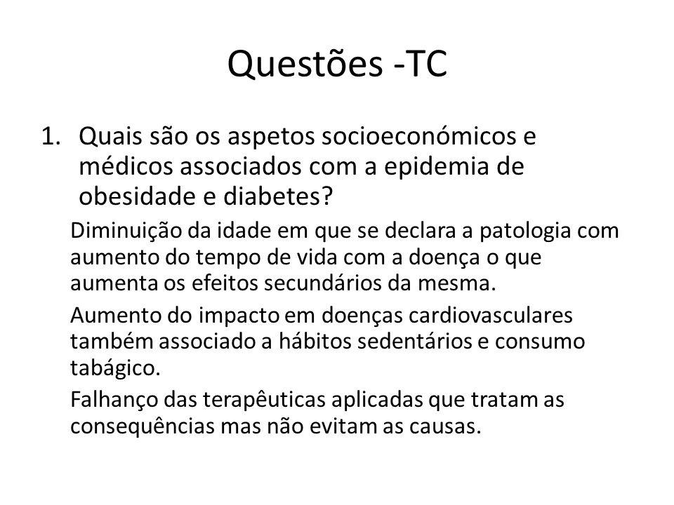 Questões -TC Quais são os aspetos socioeconómicos e médicos associados com a epidemia de obesidade e diabetes