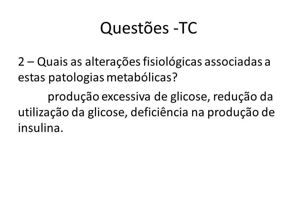 Questões -TC 2 – Quais as alterações fisiológicas associadas a estas patologias metabólicas