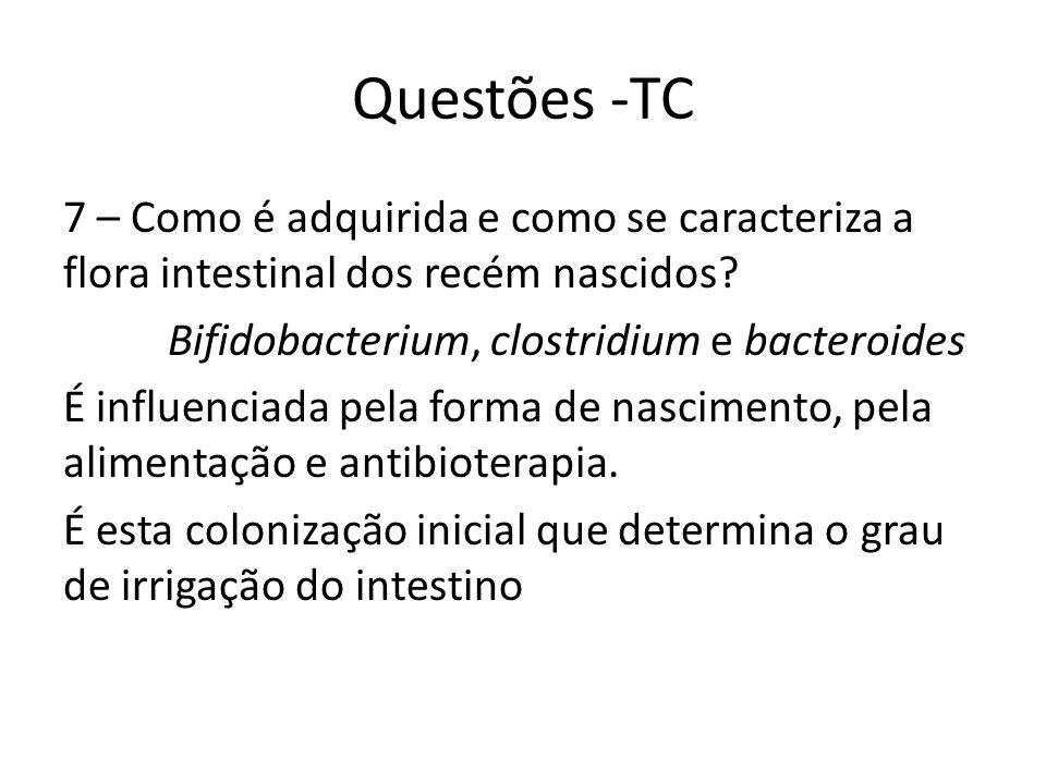 Questões -TC 7 – Como é adquirida e como se caracteriza a flora intestinal dos recém nascidos Bifidobacterium, clostridium e bacteroides.
