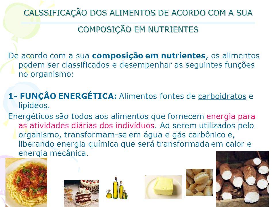 CALSSIFICAÇÃO DOS ALIMENTOS DE ACORDO COM A SUA COMPOSIÇÃO EM NUTRIENTES