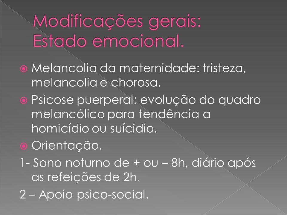 Modificações gerais: Estado emocional.