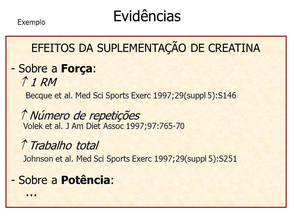 EFEITOS DA SUPLEMENTAÇÃO DE CREATINA