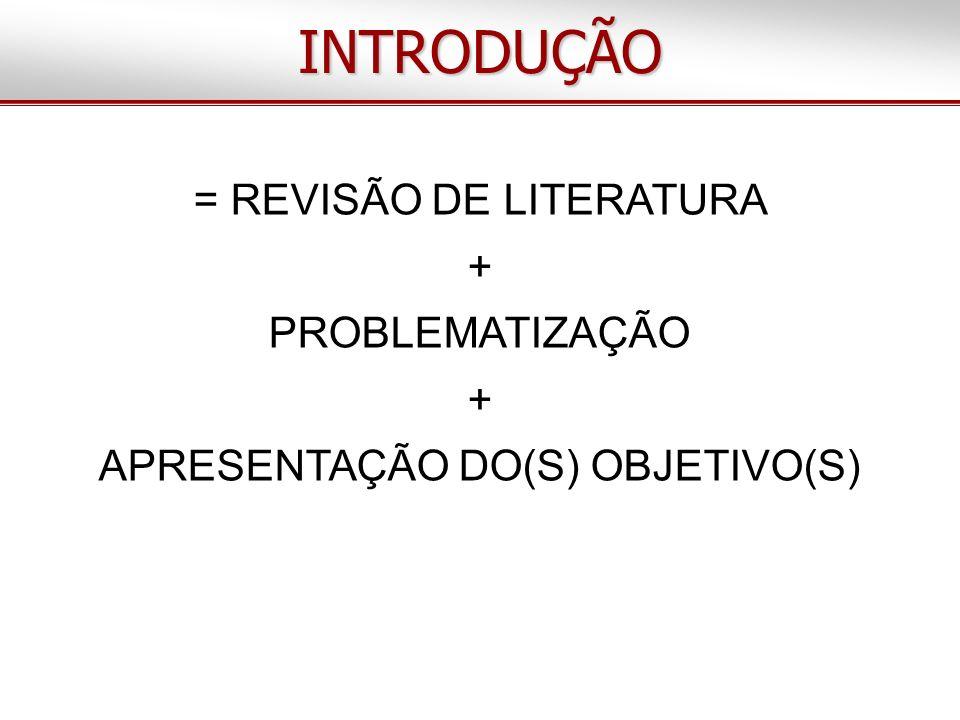 INTRODUÇÃO = REVISÃO DE LITERATURA + PROBLEMATIZAÇÃO