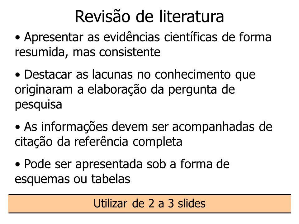 Revisão de literatura Apresentar as evidências científicas de forma resumida, mas consistente.
