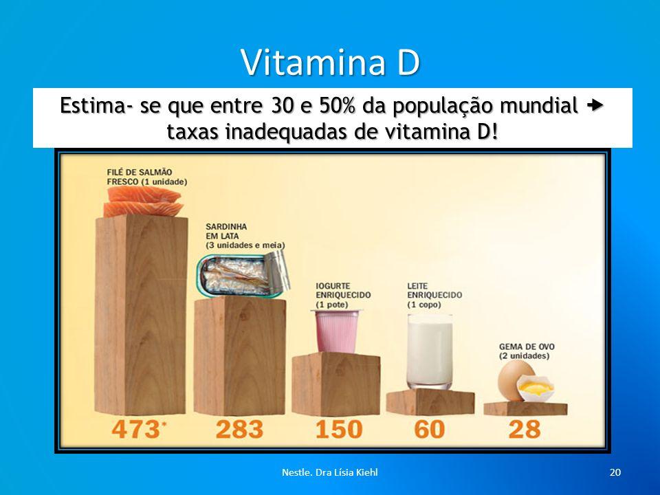 Vitamina D Estima- se que entre 30 e 50% da população mundial  taxas inadequadas de vitamina D.