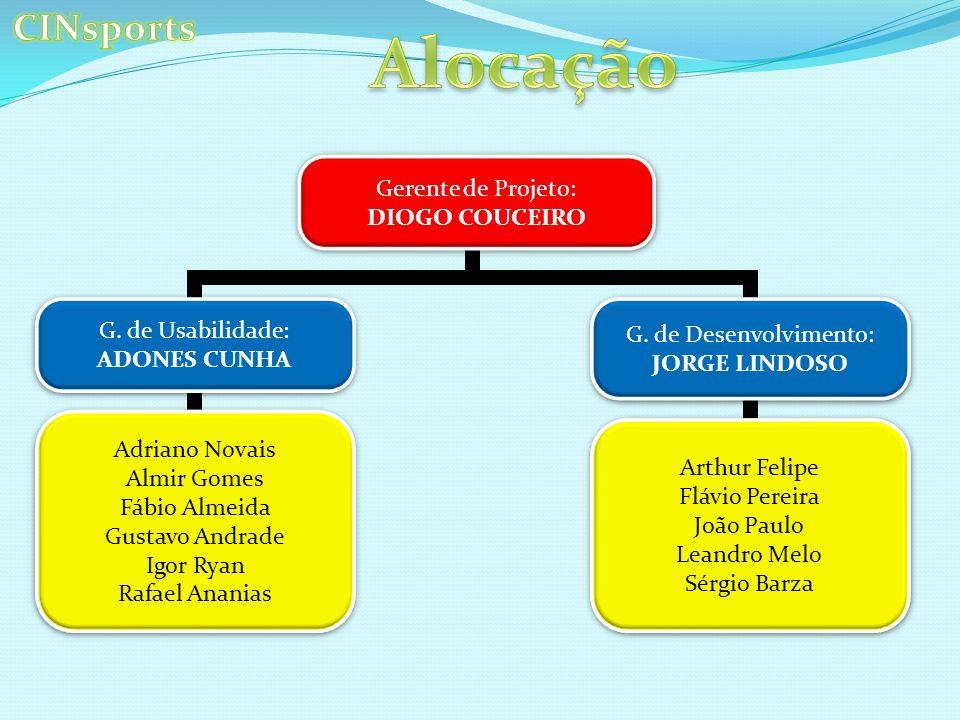 Alocação CINsports Gerente de Projeto: DIOGO COUCEIRO