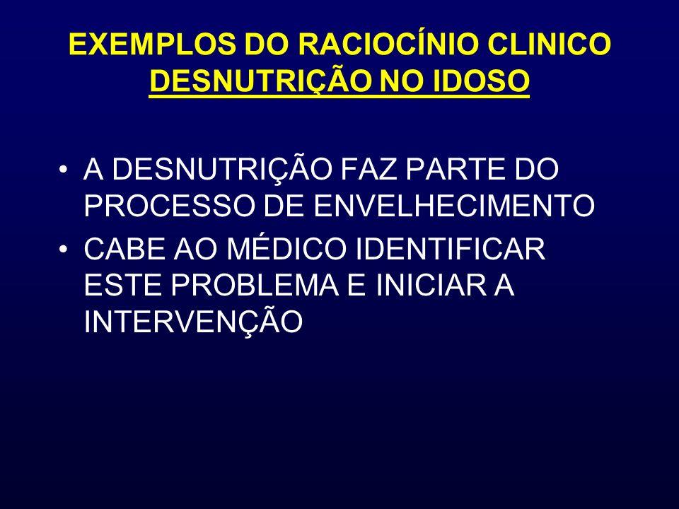 EXEMPLOS DO RACIOCÍNIO CLINICO DESNUTRIÇÃO NO IDOSO
