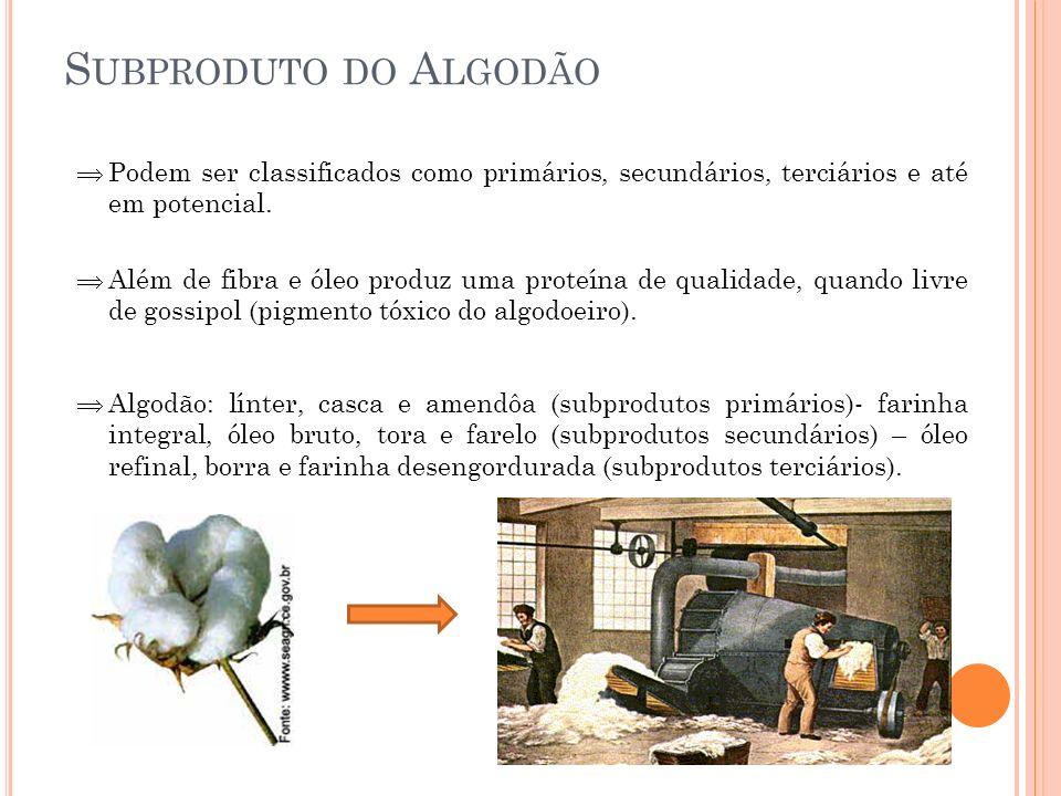 Subproduto do Algodão Podem ser classificados como primários, secundários, terciários e até em potencial.