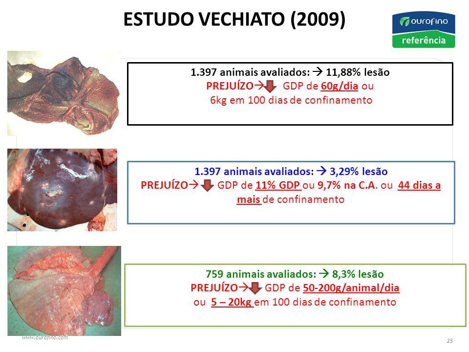 ESTUDO VECHIATO (2009) 1.397 animais avaliados:  11,88% lesão