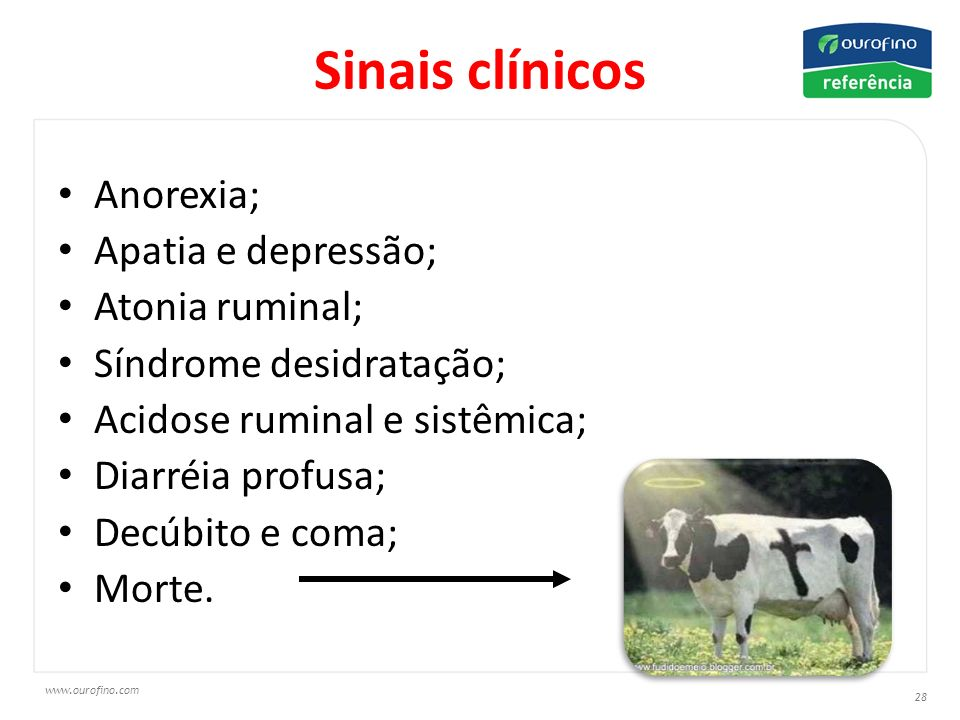 Sinais clínicos Anorexia; Apatia e depressão; Atonia ruminal;