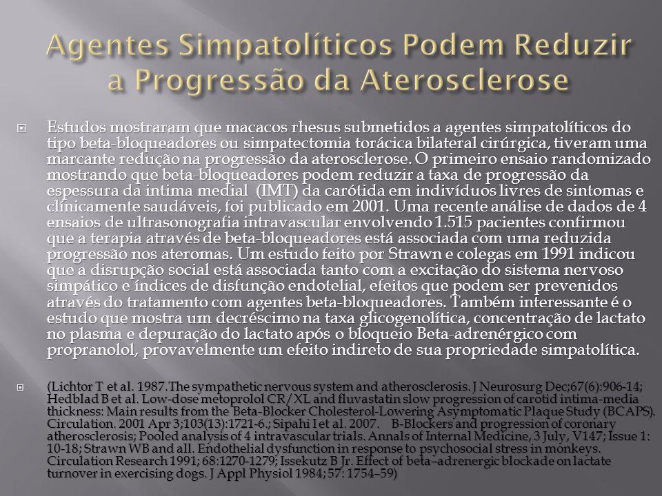Agentes Simpatolíticos Podem Reduzir a Progressão da Aterosclerose