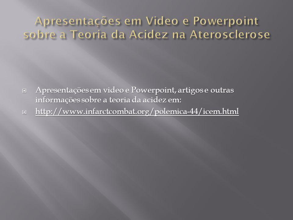 Apresentações em Video e Powerpoint sobre a Teoria da Acidez na Aterosclerose