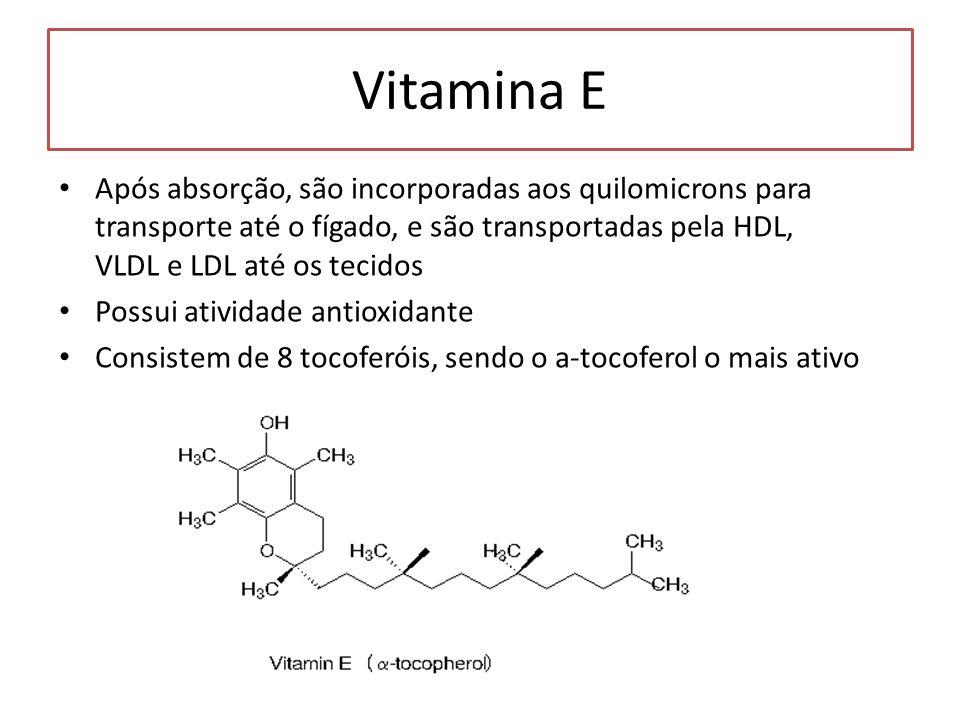 Vitamina E Após absorção, são incorporadas aos quilomicrons para transporte até o fígado, e são transportadas pela HDL, VLDL e LDL até os tecidos.