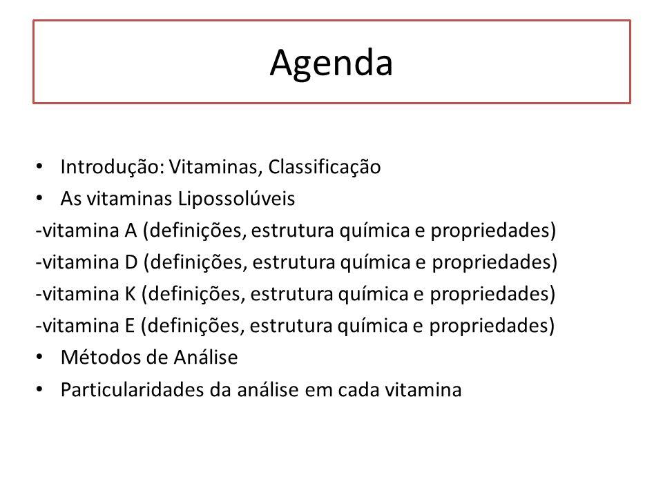 Agenda Introdução: Vitaminas, Classificação As vitaminas Lipossolúveis
