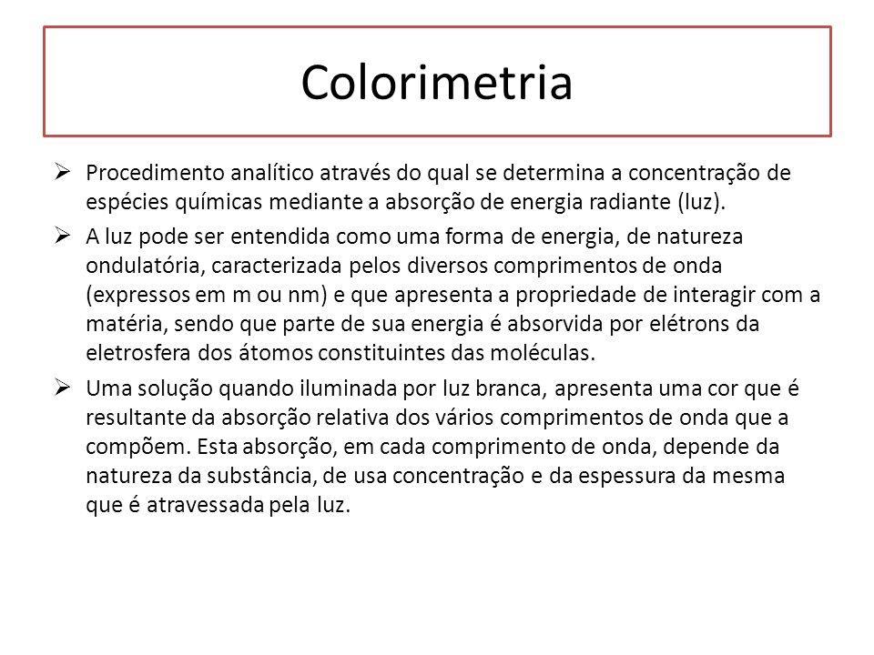 Colorimetria Procedimento analítico através do qual se determina a concentração de espécies químicas mediante a absorção de energia radiante (luz).