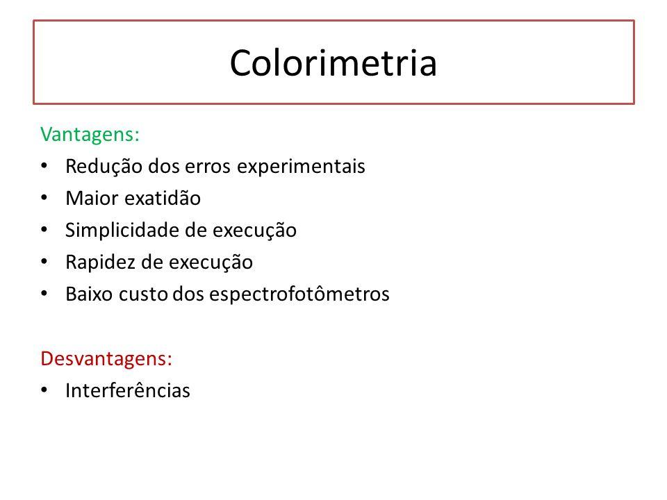 Colorimetria Vantagens: Redução dos erros experimentais Maior exatidão