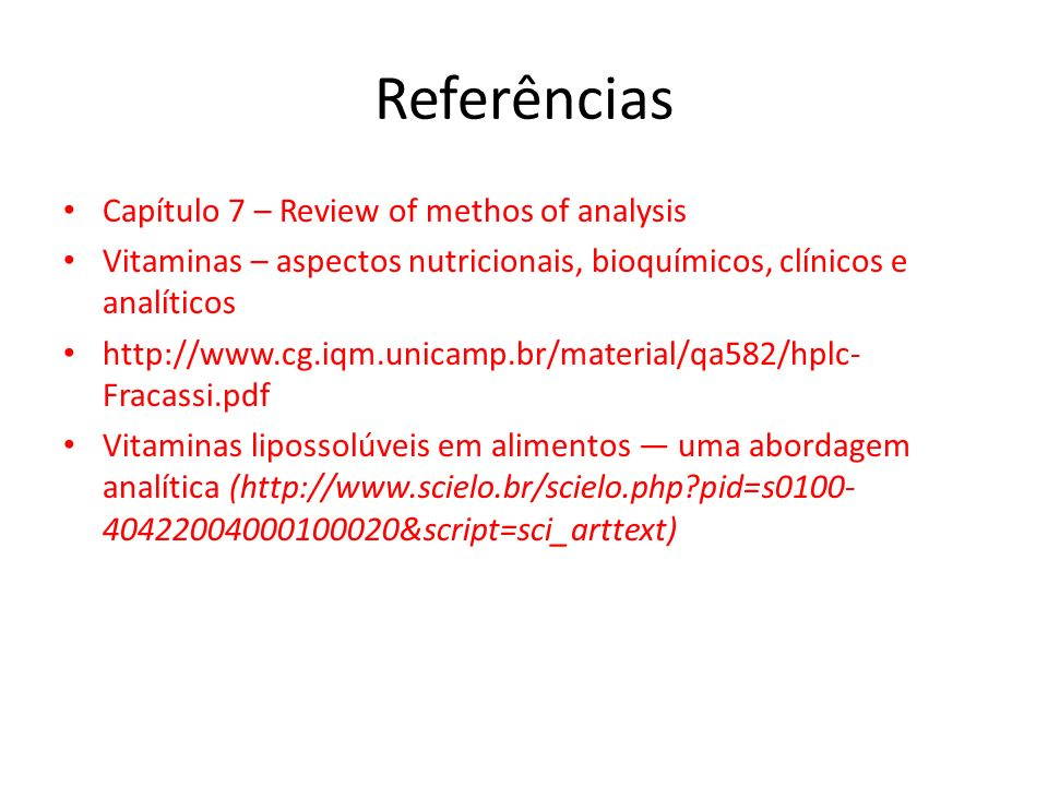 Referências Capítulo 7 – Review of methos of analysis