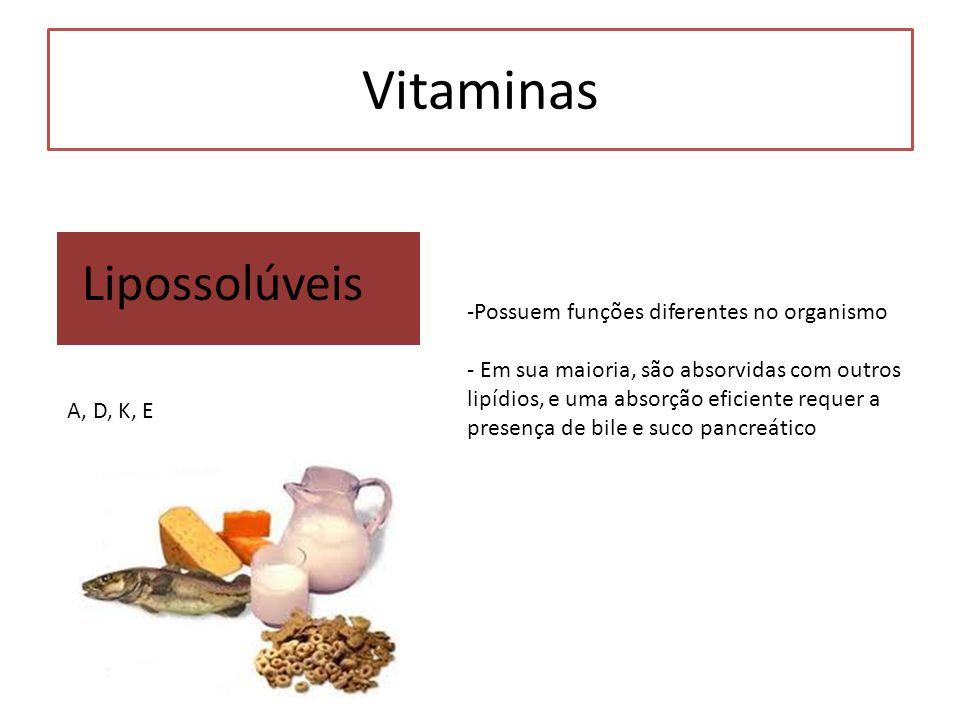 Vitaminas Lipossolúveis -Possuem funções diferentes no organismo