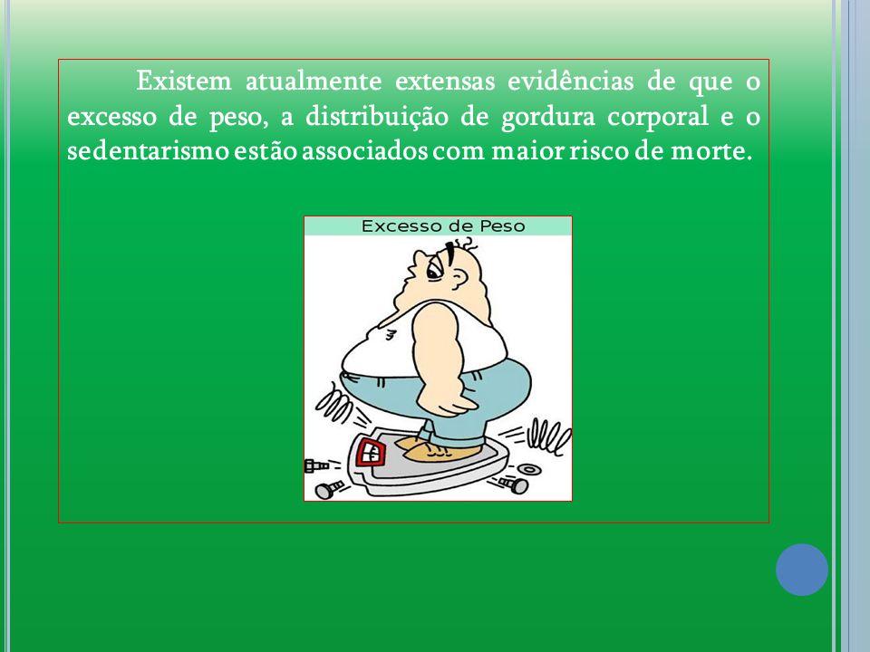 Existem atualmente extensas evidências de que o excesso de peso, a distribuição de gordura corporal e o sedentarismo estão associados com maior risco de morte.