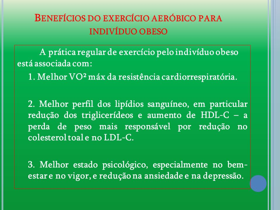 Benefícios do exercício aeróbico para indivíduo obeso
