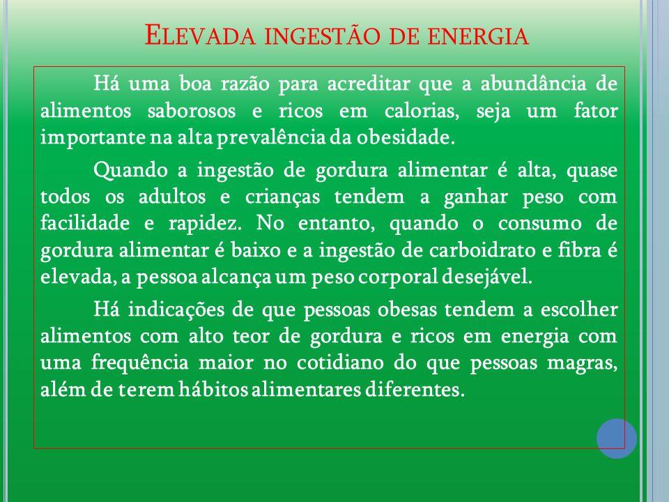 Elevada ingestão de energia