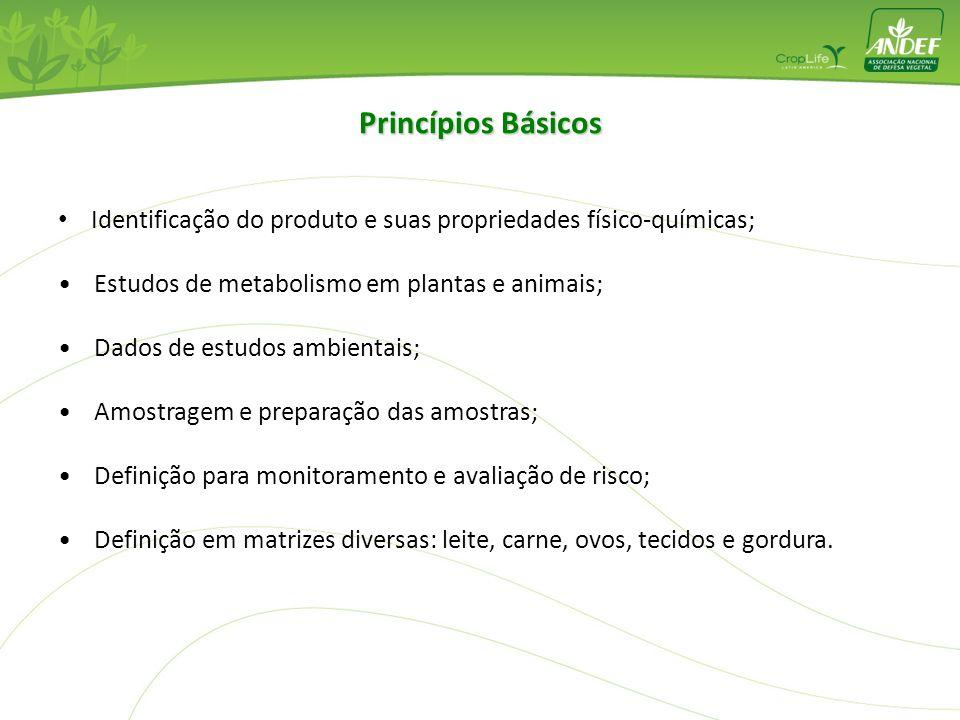 Princípios Básicos Identificação do produto e suas propriedades físico-químicas; Estudos de metabolismo em plantas e animais;