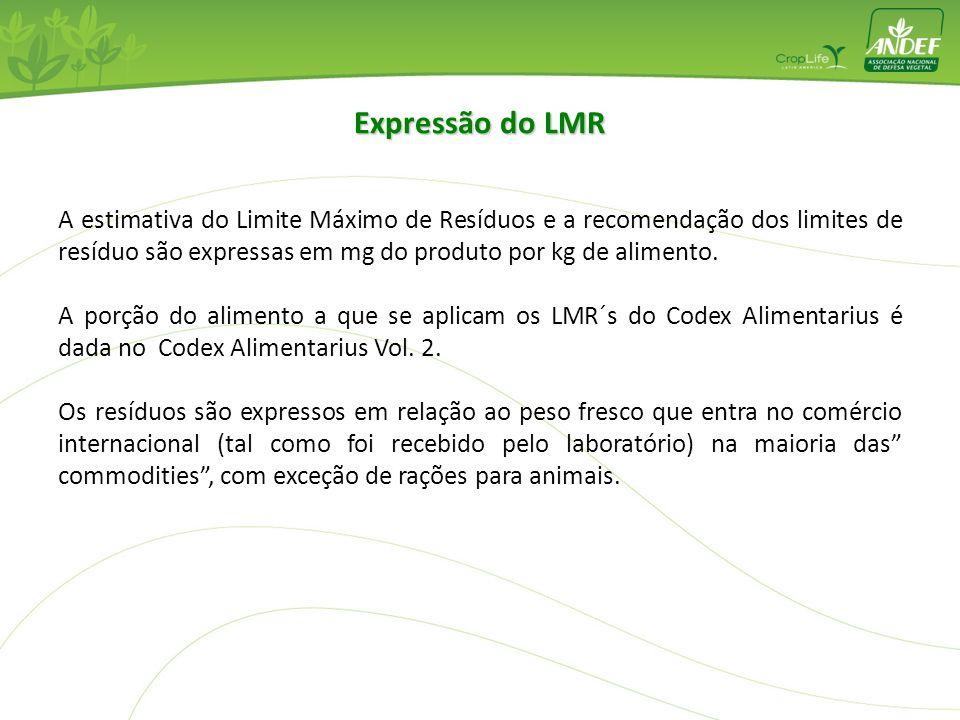 Expressão do LMR A estimativa do Limite Máximo de Resíduos e a recomendação dos limites de resíduo são expressas em mg do produto por kg de alimento.