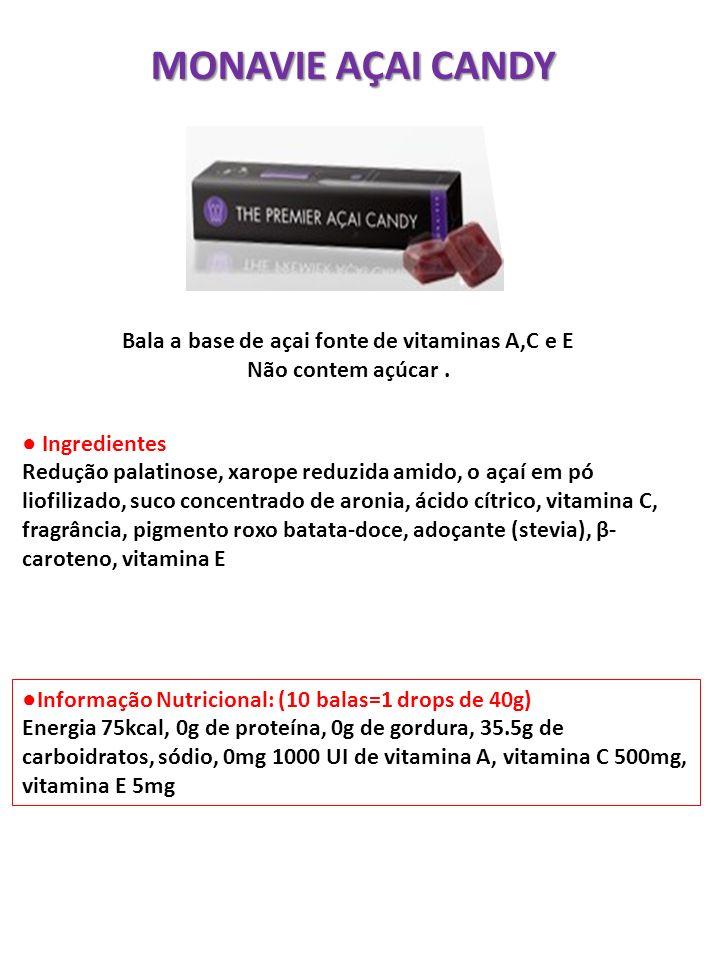 Bala a base de açai fonte de vitaminas A,C e E