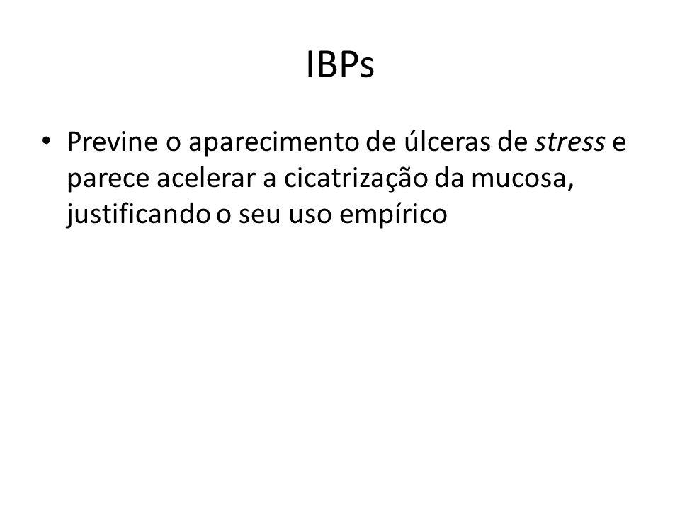 IBPs Previne o aparecimento de úlceras de stress e parece acelerar a cicatrização da mucosa, justificando o seu uso empírico.