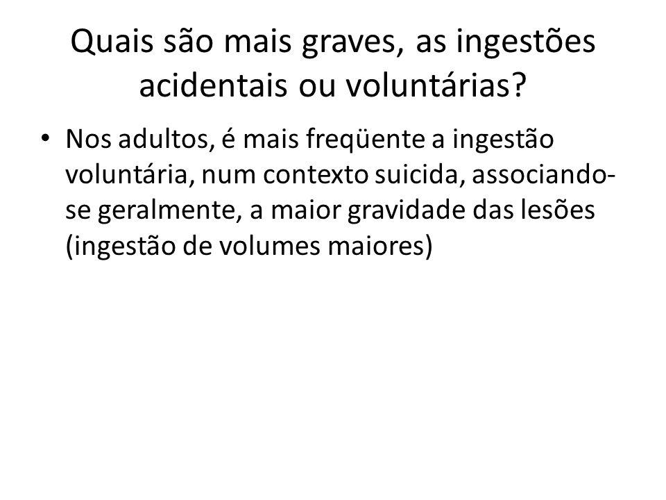 Quais são mais graves, as ingestões acidentais ou voluntárias