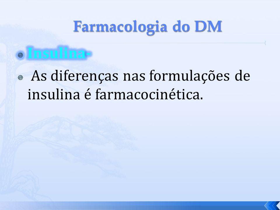 Farmacologia do DM Insulina- As diferenças nas formulações de insulina é farmacocinética.