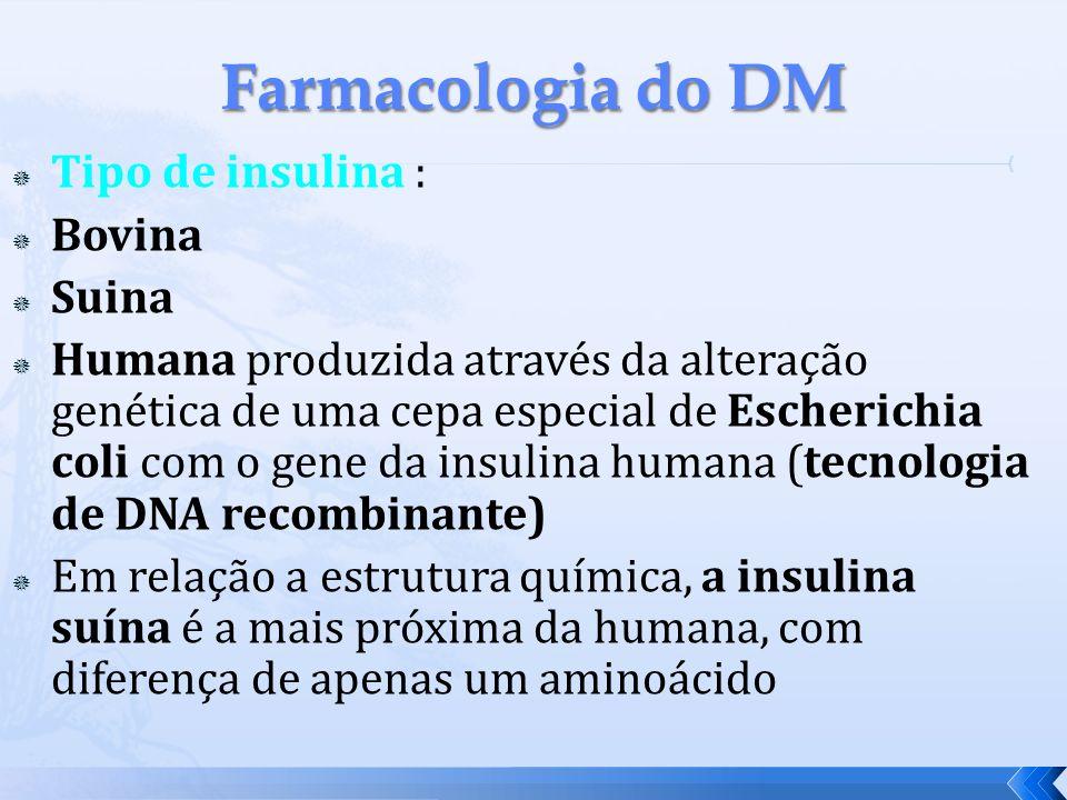 Farmacologia do DM Tipo de insulina : Bovina Suina