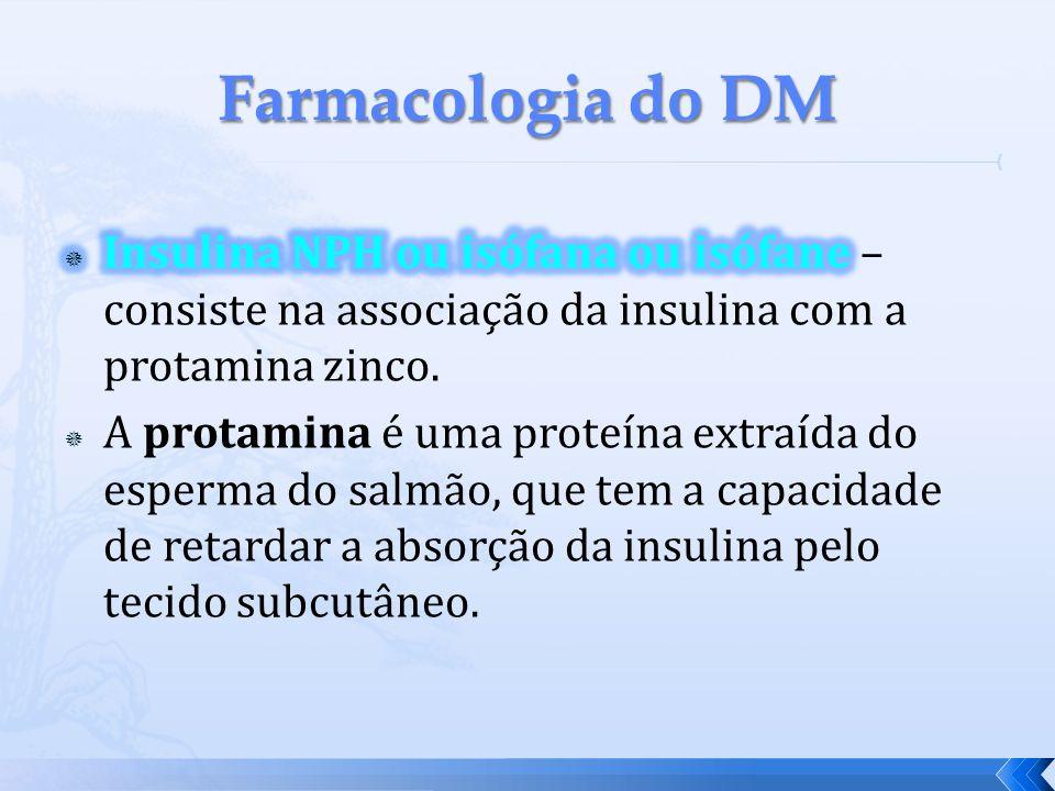 Farmacologia do DM Insulina NPH ou isófana ou isófane – consiste na associação da insulina com a protamina zinco.
