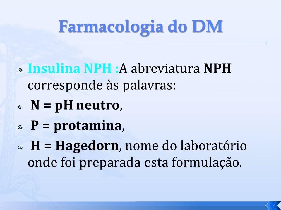 Farmacologia do DM Insulina NPH :A abreviatura NPH corresponde às palavras: N = pH neutro, P = protamina,