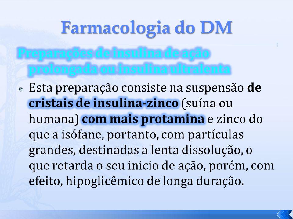 Farmacologia do DM Preparações de insulina de ação prolongada ou insulina ultralenta.